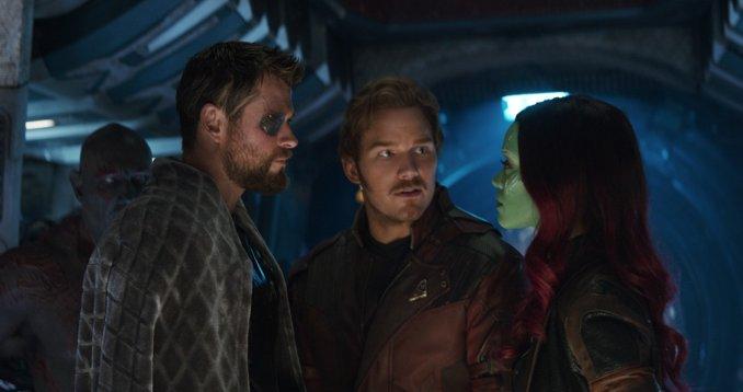 Thor rencontre 2 des Gardiens de la galaxie, Starlord et Gamora